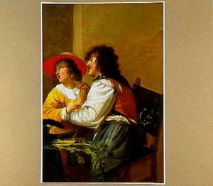 Een soldaat en een vrouw aan tafel