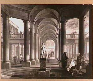 Fantasie-architectuur met Suzanna door de ouderlingen belaagd (Daniel 13:1-63)