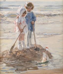 Twee meisjes op het strand spelend met een zeilboot