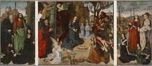 De HH. Thomas en Antonius Abt met Tommaso Portinari met zijn zonen Antonio en Pigello (binnenzijde links), De geboorte van Christus met de aanbidding van de herders (midden), De HH. Margaretha en Maria Magdalena met Maria di Francesco Baroncelli en haar dochter Margherita (binnenzijde rechts); De annunciatie (buitenzijde)