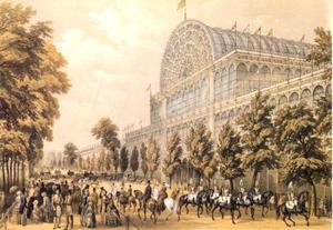 Crystal Palace gezien vanuit het zuiden tijdens de Great Exhibition of 1851