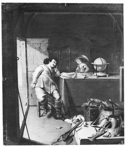 Peinzende soldaat en een jongetje in een interieur