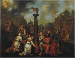 Aanbidding van het gouden kalf (Exodus 32:1-25)