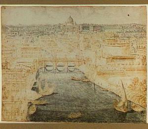 De Tiber in Rome met Castel Sant'Angelo ofwel de Engelenburcht, op de achtergond het Vaticaan