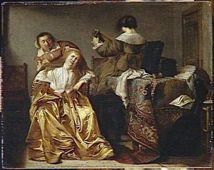 Elegant damesgezelschap in een interieur