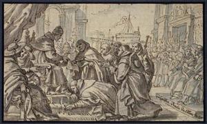 Paus Honorius III die het handvest van de Dominicanen goedkeurt