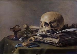 Vanitasstilleven met schedel, horloge, konische roemer en boek