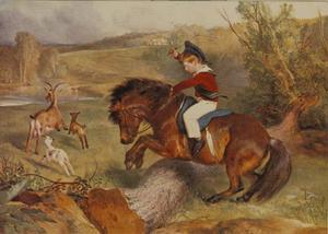 De eerste sprong: Lord Alexander Russell op zijn Highland pony Emerald