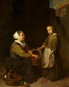 Kersenverkoopster en een klein meisje