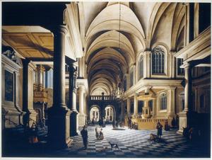 Kerkinterieur bij avond, mogelijk de kerk van Middelburg