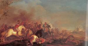 Ruitergevecht bij een brandend dorp