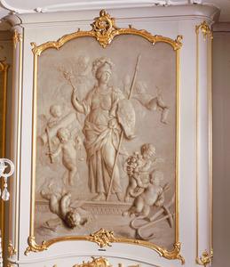 Allegorie op het Gemenebest, onder andere omringd door de vier Kardinale Deugden en en de verslagen tweedracht