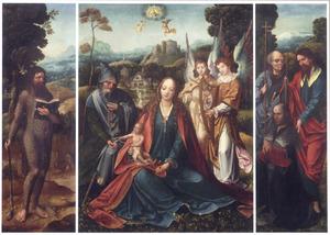 De H. Onufrius (links), de Heilige Familie met musicerende engelen (midden), de H. Jacobus Maior en H. Hieronymus met stichter (rechts)