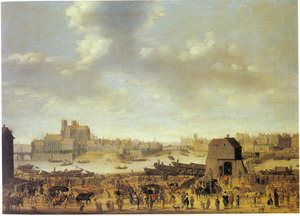 Gezicht in Parijs vanaf de linkeroever van de Seine; links het Ile de la Cité met de Notre Dame, de Pont St. Louis, het Ile St. Louis en de Pont de la Tournelle