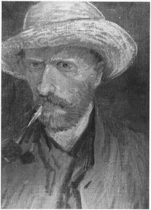 Zelfportret met strohoed en pijp