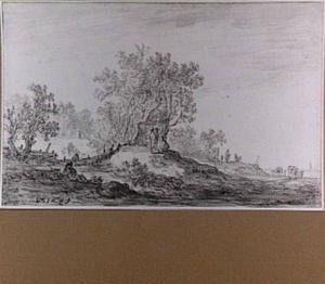 Landschap met huifkarren en figuren