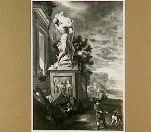 Landschap met antiek standbeeld (De Sabijnse Maagdenroof van Cellini te Florence); op de voorgrond een jongen met een hond