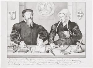 Dubbelportret van Gijsbert van Scharlaken (1519-1563) en Adriana van Slingelandt (1522-1606)