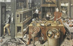 Keukenstuk met de Bruiloft van Cana, met een zelfportret van Ludger Tom Ring en een portret van  Richard Clough (c. 1530-1570)