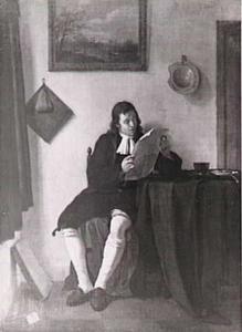 Interieur met een lezende man