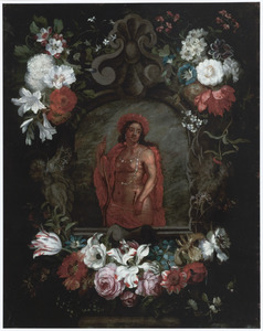 Cartouche met een personificatie van Amerika omringd door bloemen