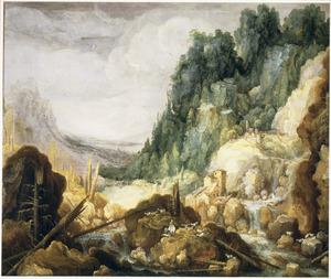 Onherbergzaam berglandschap met schaapherder