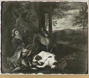 Jager, honden en valk bij jachtbuit in landschap