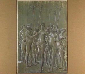 Vijf naakte soldaten en drie naakte vrouwen