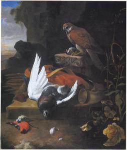 Een valk op een voetstuk bij jachtbuit