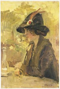 Elegante dame op een terras in Hyde Park, Londen