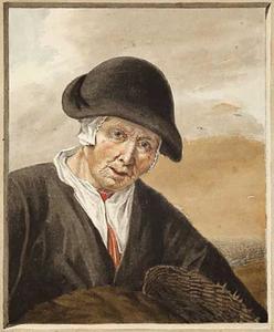 Oude vissersvrouw met een mand