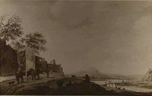 Figuren in een weids rivierlandschap; links een ruïne, over de rivier een brug en bergen aan de horizon