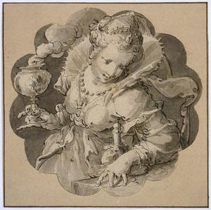Elegante vrouw met geldbuidel en rokend bokaal  (Vanitas)