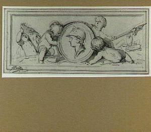 Kop van Minerva in medaillon met vier putti