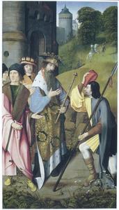 Legende van het leven van de H. Dymphna: de koning verneemt dat zijn dochter Dymphna is gevonden (op de buitenzijde: de HH. Dymphna en Lucia (in grisaille))