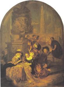 Spelende kinderen en Diogenes die een eerlijk mens zoekt
