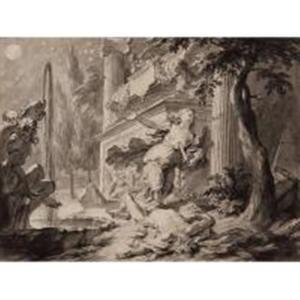 Thisbe pleegt zelfmoord met het zwaard van Pyramus