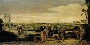 Vissers en boeren in een landschap