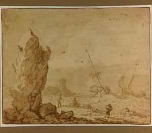Rotskust met vissersboten op stormachtige zee
