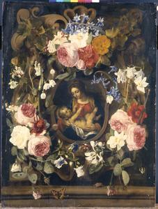 Cartouche versierd met bloemen, rondom een voorstelling van Maria met kind