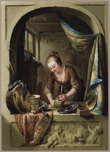 Jonge vrouw schrobt vaatwerk in een venster