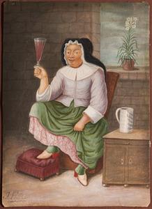 Vrouw met een vol wijnglasen een lelie: allegorie op de kuisheid