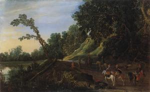 Halthoudende ruiters bij een bosrand