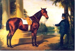 Antigone, rijpaard van Koning Ludwig II van Beieren, in het park van Schloss Nymphenburg met het schiereiland in de Badenburger See op de achtergrond