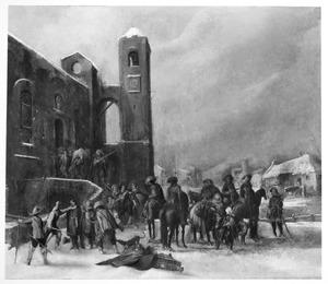 Soldaten plunderen een kerk in een winters landschap