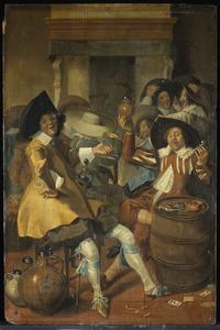 Vrolijk gezelschap van jonge mannen, rokend, drinkend en musicerend