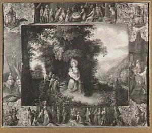 Boslandschap met de rust op de vlucht naar Egypte;  in de omlijsting scènes betreffende de geboorte van Christus, geflankeerd door de vier evangelisten