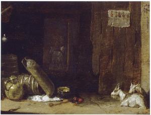 Boerderij-interieur met geiten en vaatwerk