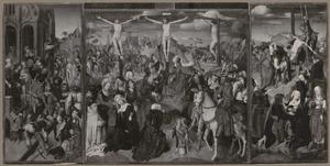 Christus wordt van het Praetorium geleid (binnenzijde links), De kruisiging met een stichter (midden), De kruisafname (binnenzijde rechts); Maria met kind en de H. Augustinus van Hippo (buitenzijde links), De HH. Petrus en Maria Magdalena (buitenzijde rechts)