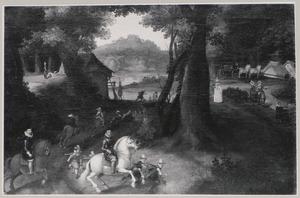 Heuvellandschap met ruiters onder wie Maurits van Oranje-Nassau (1567-1625) en waarschijnlijk Frederik Hendrik van Oranje-Nassau (1584-1647)